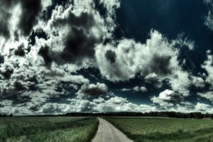 clouds, Road, HDR