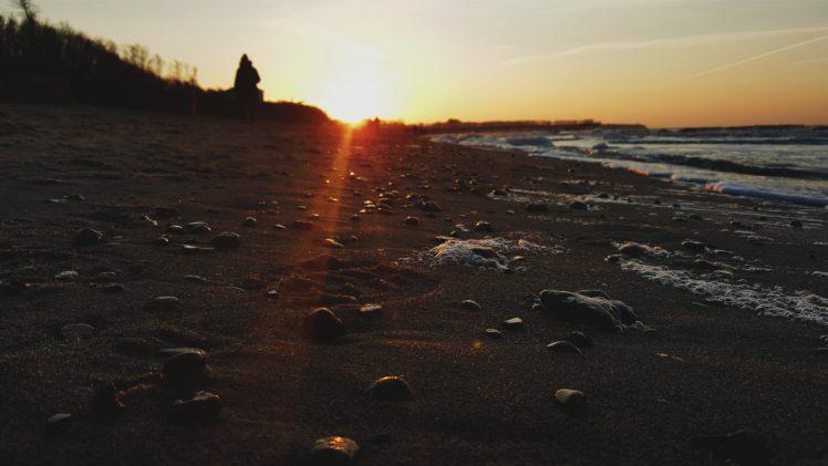 beach, Landscape, Sunrise, Sunset, Sweden, Sea HD Wallpaper Desktop Background