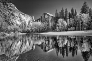 nature, Mountains, Landscape, River, Reflection, Monochrome