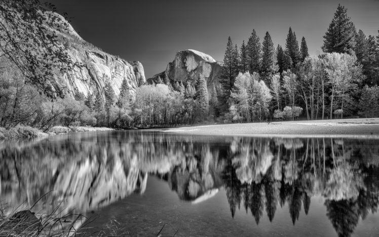 nature, Mountains, Landscape, River, Reflection, Monochrome HD Wallpaper Desktop Background