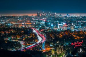 photography, Cityscape, Light trails, City lights, Los Angeles, Skyline
