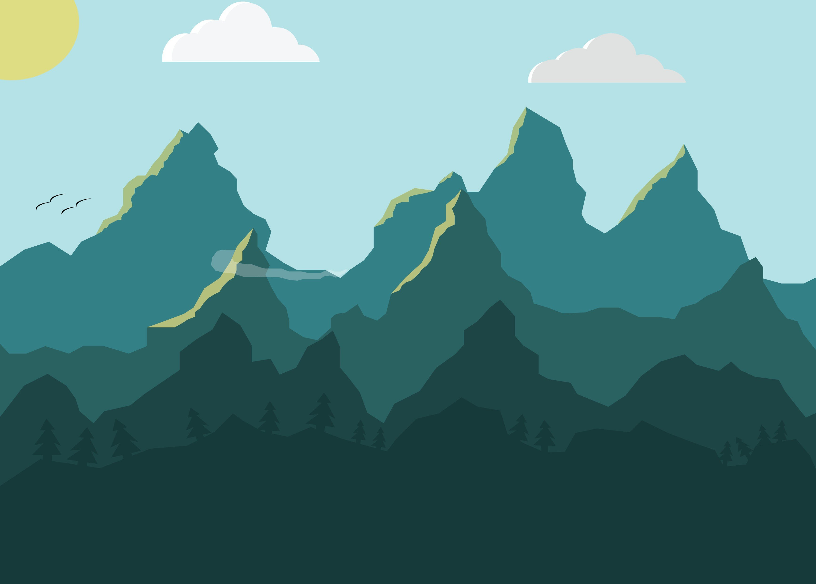 Photoshop landscape mountains birds trees clouds hd wallpapers desktop and mobile images - Hd clouds for photoshop ...