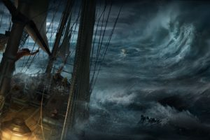 sailors, Nature, Water, Sea, Waves, Digital art, Sailing ship, Storm, Dark, Clouds, Ropes, Destruction, Assassin&039;s Creed III, Video games