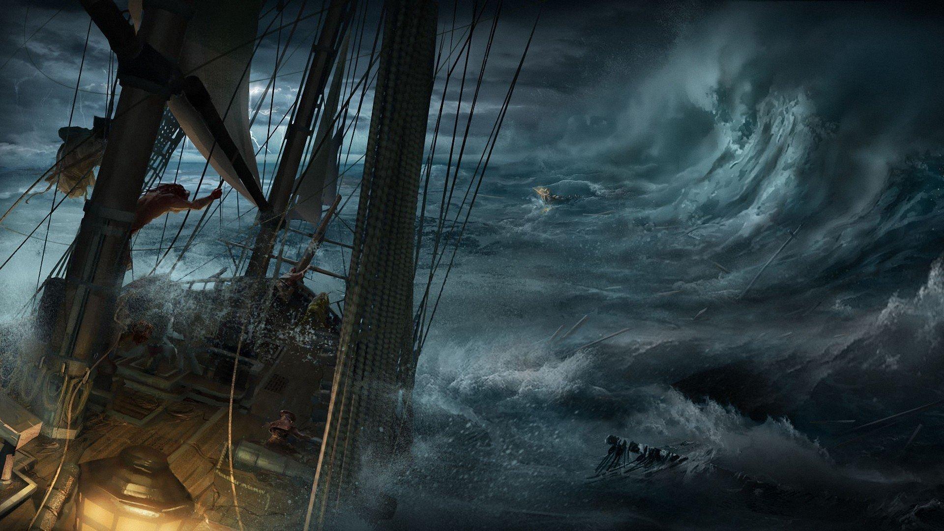sailors, Nature, Water, Sea, Waves, Digital art, Sailing ship, Storm, Dark, Clouds, Ropes, Destruction, Assassin&039;s Creed III, Video games Wallpaper