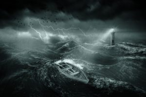 nature, Water, Sea, Waves, Lighthouse, Storm, Lightning, Dark, Boat, Rain, Birds, Clouds, Lights, Digital art, Scratches