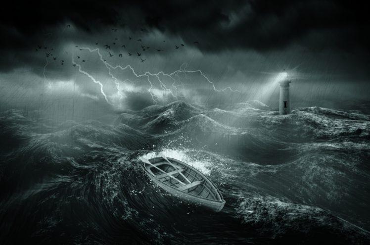 nature, Water, Sea, Waves, Lighthouse, Storm, Lightning, Dark, Boat, Rain, Birds, Clouds, Lights, Digital art, Scratches HD Wallpaper Desktop Background