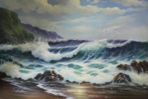nature, Water, Sea, Waves, Coast, Rock, Cliff, Birds, Clouds, Painting, Artwork, Oil painting