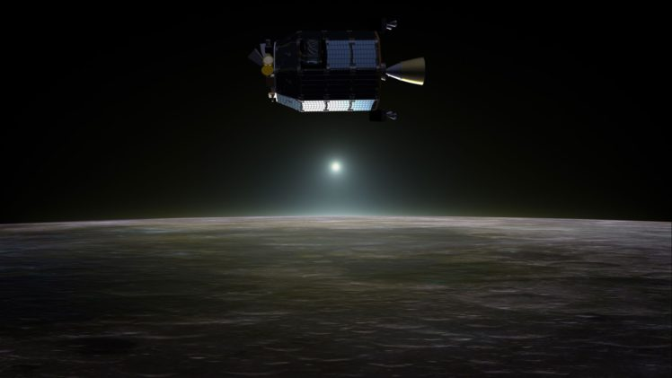 470223 space universe planet black background digital art spaceship NASA moon rays concept art LADEE solar power
