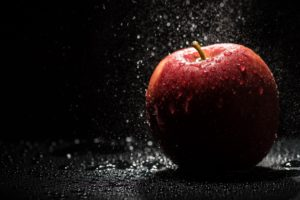 water, Water drops, Fruit, Apples, Shadow, Lights, Black background, Photography, Splashes