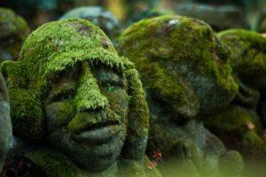 face, Stones, Moss, Sculpture
