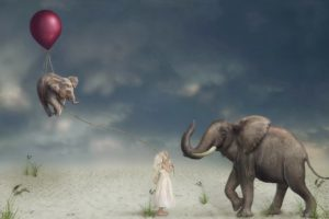 children, Artwork, Balloon, Elephant, Animals, Surreal