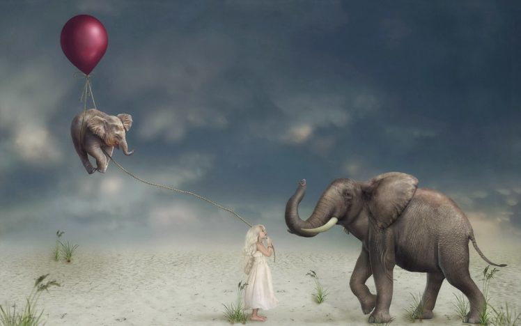 Children Artwork Balloon Elephant Animals Surreal Hd