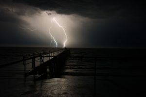 thunder, Night, Pier