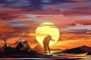 Circle art, Couple, Artwork, Illustration, Sunset, Silhouette