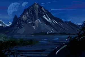 artwork, Illustration, Mountains, Night