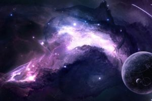 JoeyJazz, Space, Planet, Moon, Galaxy, Purple, Space art, Digital art