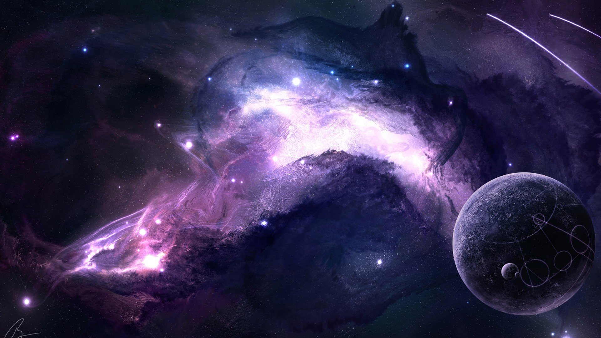 Joeyjazz Space Planet Moon Galaxy Purple Space Art