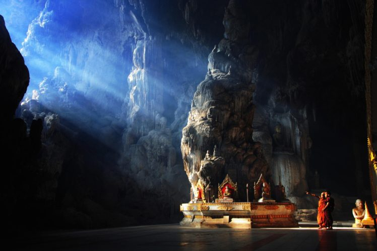 Monks Buddha Children Nature Cave Buddhism Rock Myanmar