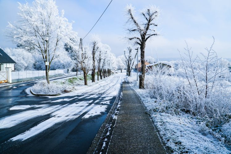 Nature Landscape Winter Snow Trees Road Ice HD Wallpaper Desktop