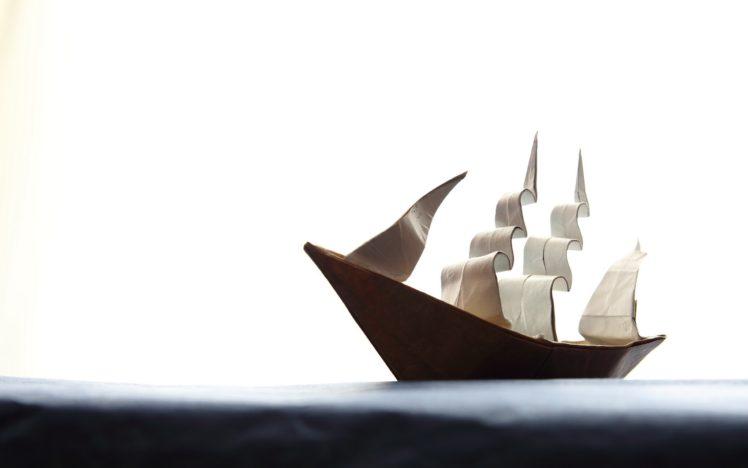 ship, Paper, Origami HD Wallpaper Desktop Background