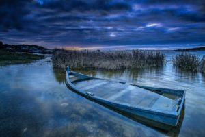 wreck, Boat, Sky, Blue, Water, Clouds, Landscape, Nature