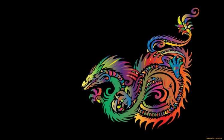 Minimalism Fantasy Art Dragon Colorful Hd Wallpapers