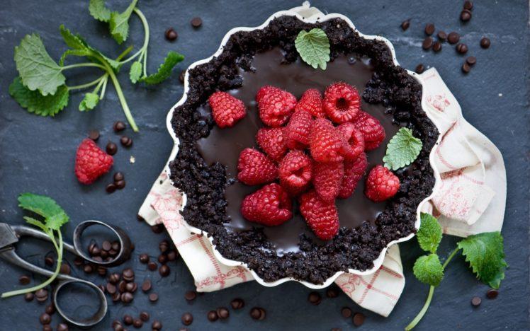 scissors, Fruit, Food, Dessert, Raspberries, Chocolate cake HD Wallpaper Desktop Background
