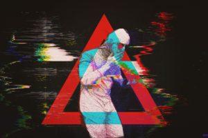 papa franku, Pink guy, Glitch art, Abstract, Triangle