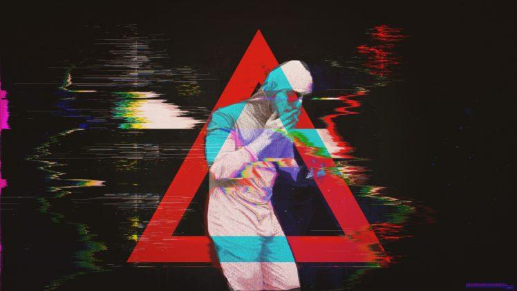 papa franku, Pink guy, Glitch art, Abstract, Triangle HD Wallpaper Desktop Background