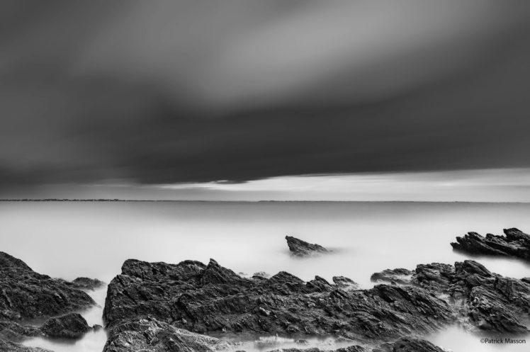 Patrick Masson, Nature, Landscape, Sea, Rock, Monochrome, Horizon, Clouds, Long exposure, Photography HD Wallpaper Desktop Background