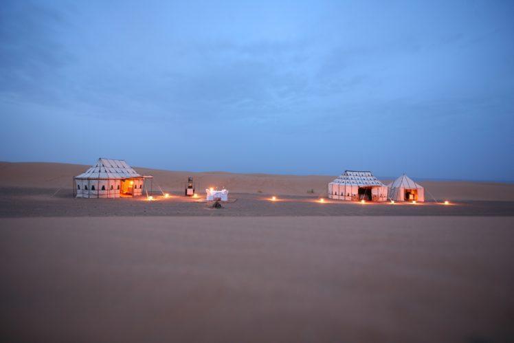 luxury, Nature, Landscape, Morocco, Africa, Sand, Desert, Tent, Lights, Camp, Clear sky, Evening HD Wallpaper Desktop Background