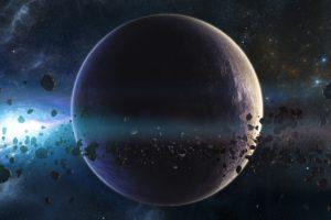 galaxy, Planet, Stars, Meteors, Nebula