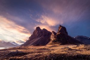 Iceland, Mountains, Sky, Clouds, Snowy peak, Nature