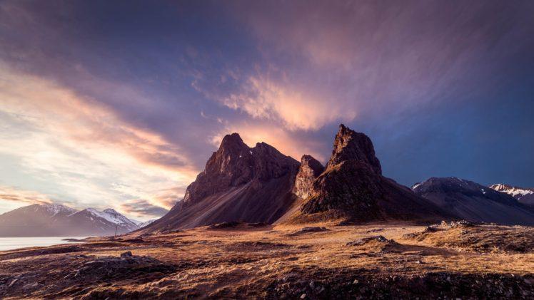 Iceland, Mountains, Sky, Clouds, Snowy peak, Nature HD Wallpaper Desktop Background
