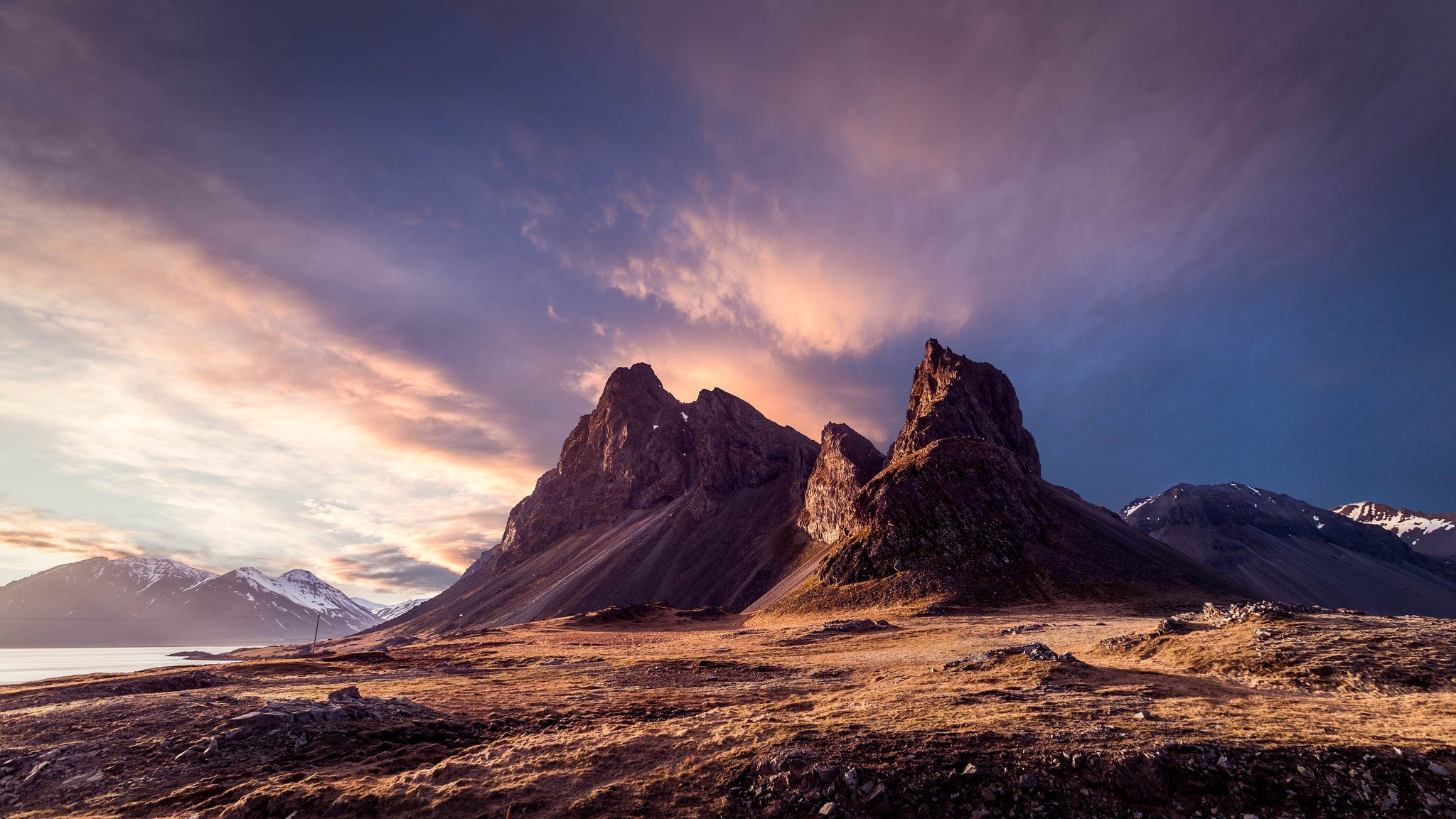 Iceland, Mountains, Sky, Clouds, Snowy peak, Nature Wallpaper