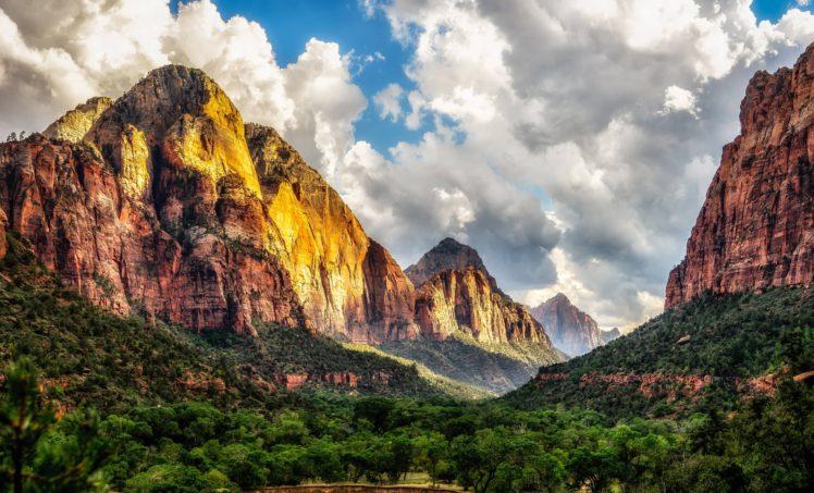 Zion National Park, Utah, Trees, Clouds, Nature HD Wallpaper Desktop Background