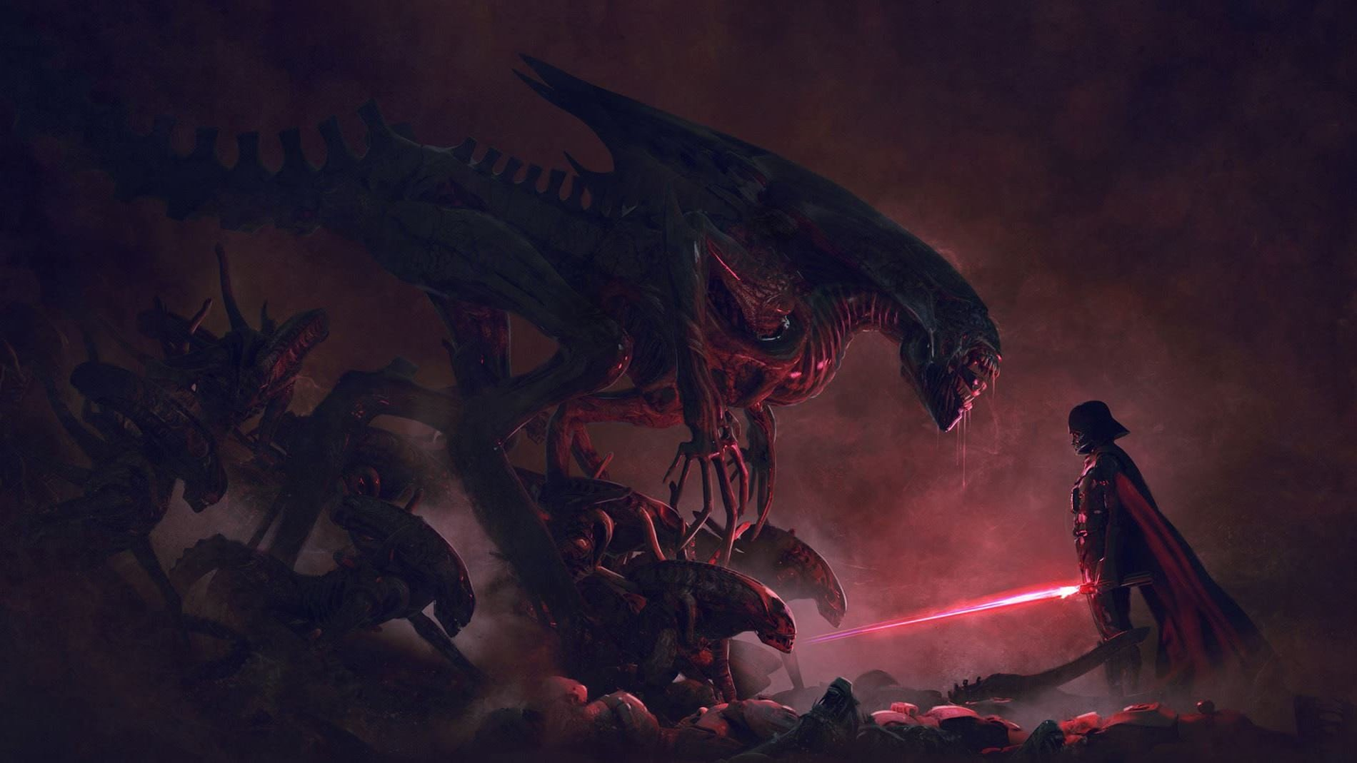 Darth Vader Alien Vs Predator Aliens Star Wars Hd Wallpapers