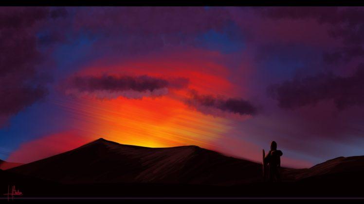 artwork, Illustration, Sky, Mountains, Clouds, Sunset HD Wallpaper Desktop Background