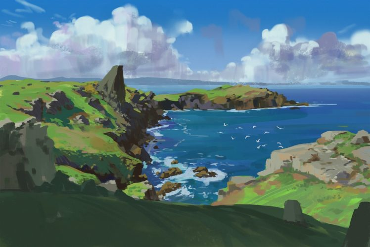 artwork, Illustration, Sky, Mountains, Clouds, Water, Nature HD Wallpaper Desktop Background