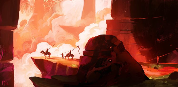 artwork, Illustration, Sky, Mountains, Clouds, Fantasy art HD Wallpaper Desktop Background