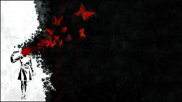 suicide, Butterfly, Pistol HD Wallpaper Desktop Background