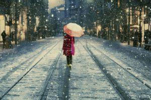umbrella, Winter, Snow, Railway, Istanbul