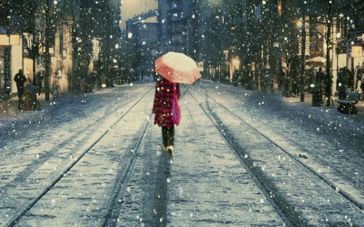 umbrella, Winter, Snow, Railway, Istanbul HD Wallpaper Desktop Background