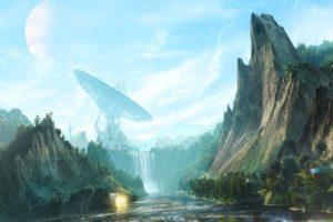 satellite dish, Futuristic, Waterfall