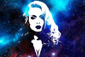women, Galaxy, Stars, Digital art, Purple background