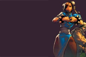 Chun Li, Guile, Street Fighter, Illustration, Purple background