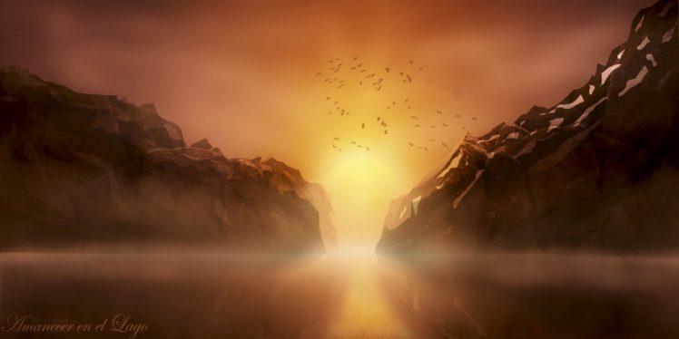 landscape, Photoshop, Lake, Sunlight, Painting HD Wallpaper Desktop Background