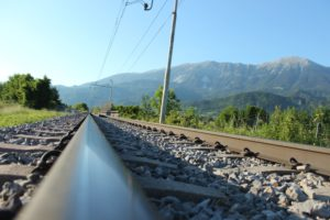 landscape, Railway, Electric wiers, Mountains