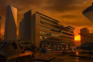 artwork, Illustration, Sunset, Apocalyptic, Abandoned, Helicopters, Hospital