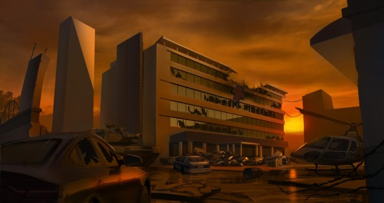artwork, Illustration, Sunset, Apocalyptic, Abandoned, Helicopters, Hospital HD Wallpaper Desktop Background